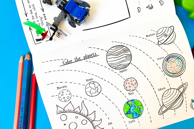Solar system coloring activity in My Bright Journal